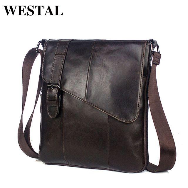 WESTAL Men Leather Messenger Bag Men s shoulder bag Genuine Leather Men s  Small Casual Flap male Crossbody Bags For men 8240 f8c2cdd570101