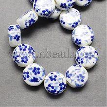 met de hand gemaakte bedrukte porselein pruim bloem keramiek kralen, plat rond, blauw, 12x7mm, gat: 3mm(China (Mainland))