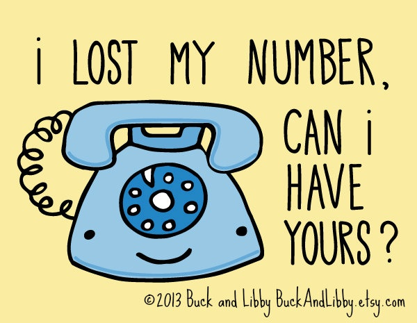 Phone Number Pick-up Line Card with Envelope Blank inside