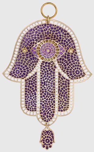 Brass Hamsa with Purple Mosaic and Hanging Hamsa Charm