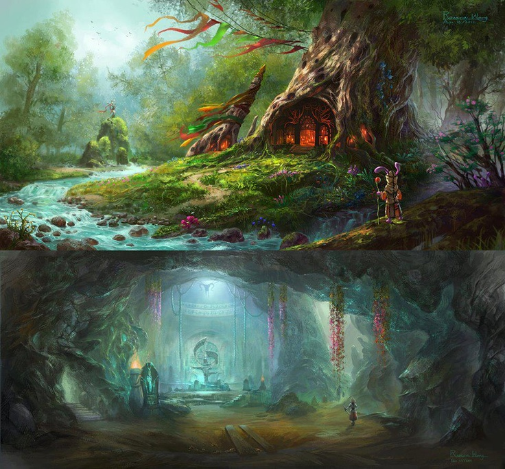 Forest and Crystal Cave by Rowena Wang