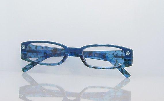 blue reading glasses 100 strength handpainted in blue