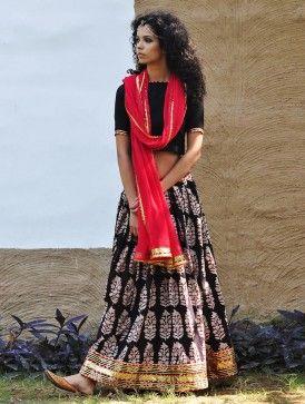 Red-Black Natural Dyed Hand Block Printed Gota Embellished Cotton Lehenga-Choli & Dupatta Set of 3