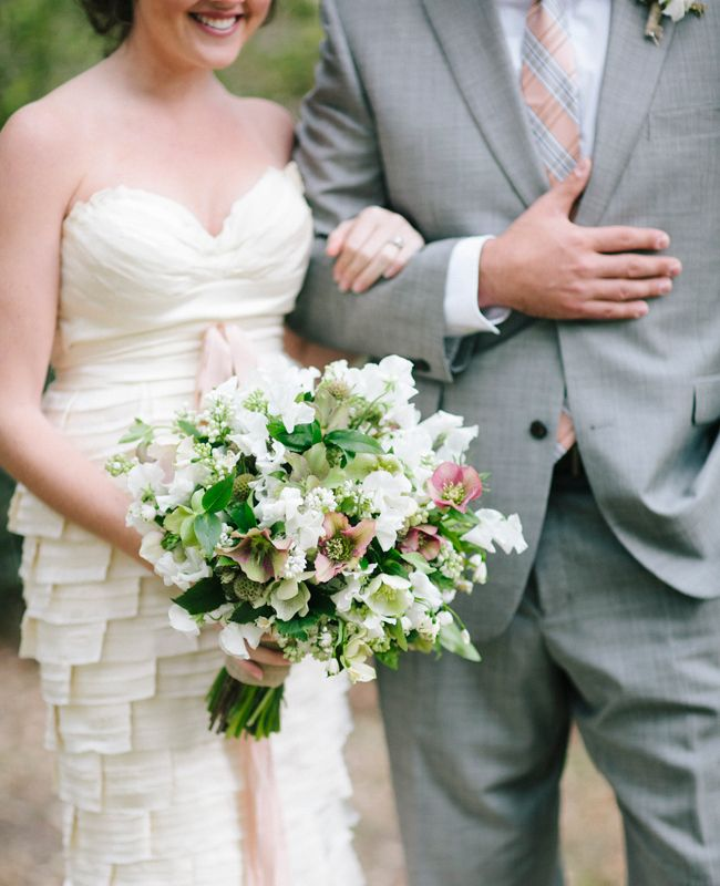 White & green bridal bouquet // Millie Holloman Photography // From: An Autumnal Southern Wedding Shoot