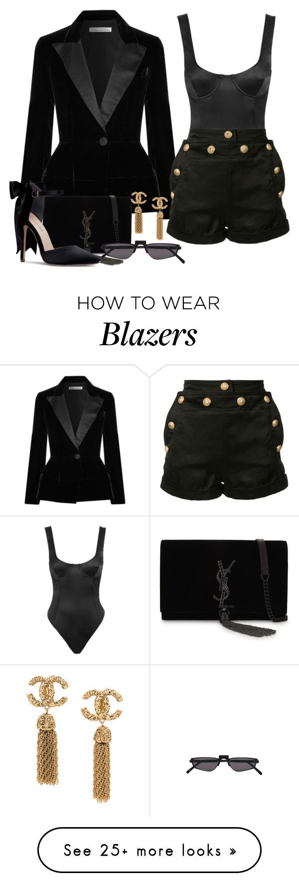 """Untitled #2587"" by seventeene on Polyvore featuring Oscar de la Renta, Yves Saint Laurent, Andy Wolf and Balmain"
