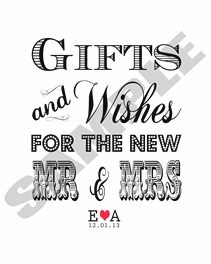 Wishing Well Gift Table Sign for Wedding