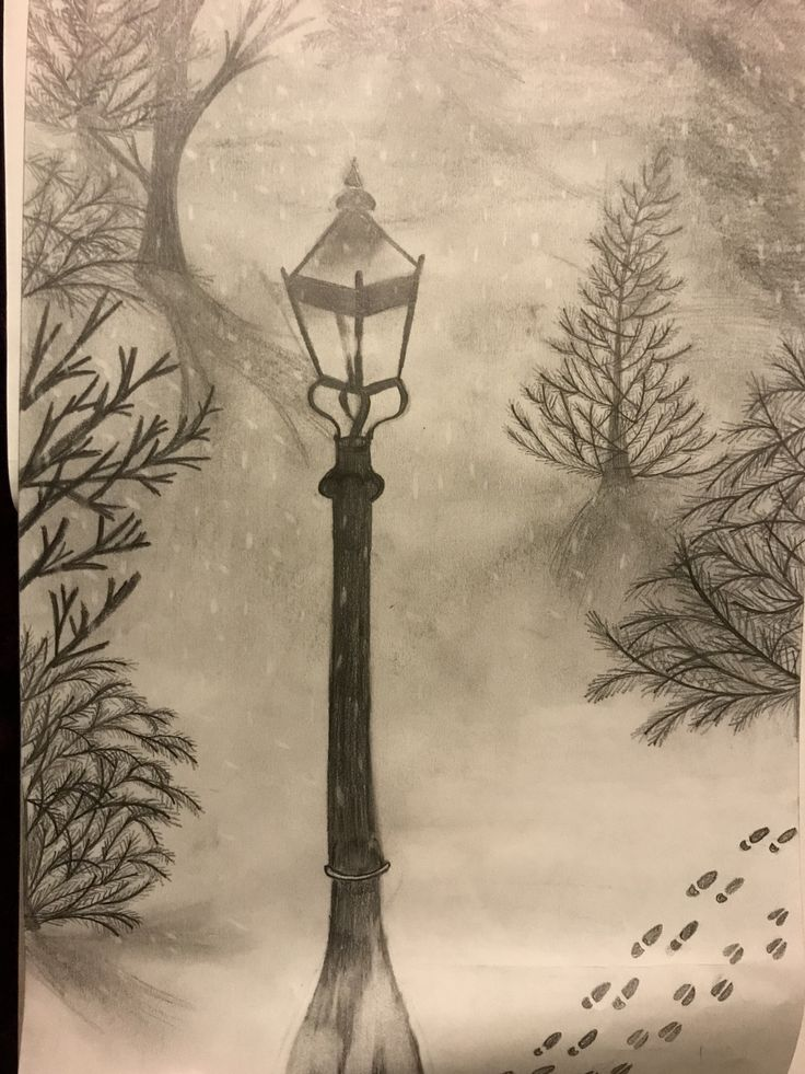 Narnia Lamppost Sketch I did. This is so magical to me, I