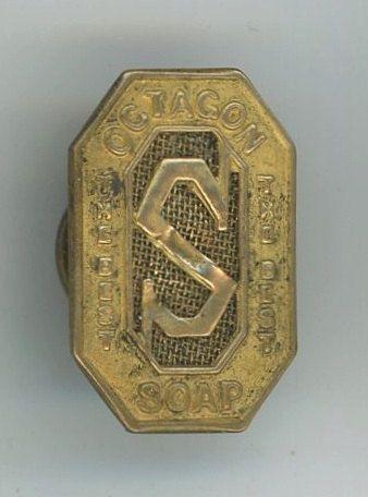 Octagon Soap antique vintage advertising lapel button pin by BlueJugAntiques