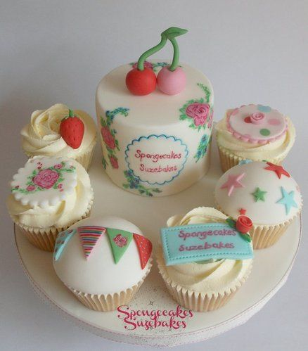 Cath Kidson Hand Painted Cake & Cupcakes