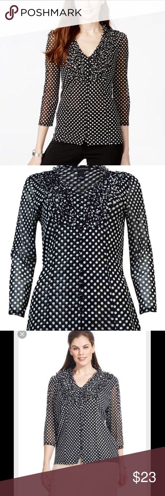 Polka Dot Blouse Black and white polka dot top, light flowy fabric, fabric on sleeves is sheer. INC International Concepts Tops Blouses