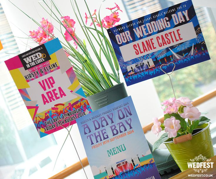 quirky weddings festival wedding table cards - http://www.wedfest.co/quirky-weddings-wedding-stationery-belfast/ #wedfest