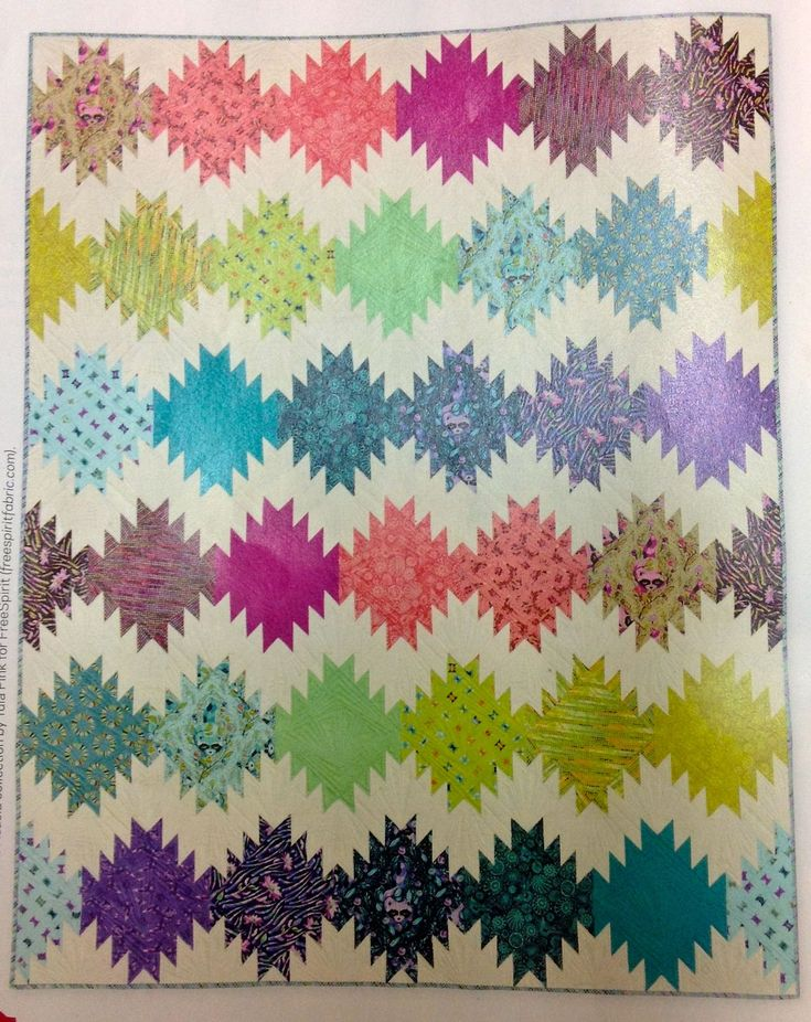 Tula Pink's quilt Peaks and Valleys published in a recent edition of America's Patchwork & Quilting magazine.