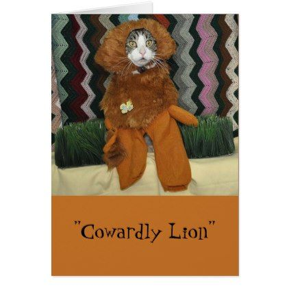 Black and white tabby cat dressed as a lion card  $3.50  by Purranimals  - cyo customize personalize diy idea
