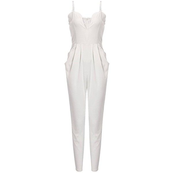 Yoins White Jumpsuit with Pockets ($22) ❤ liked on Polyvore featuring jumpsuits, rompers, dresses, playsuit, yoins, white, jumpsuits & rompers, white romper, white jumpsuit and white rompers