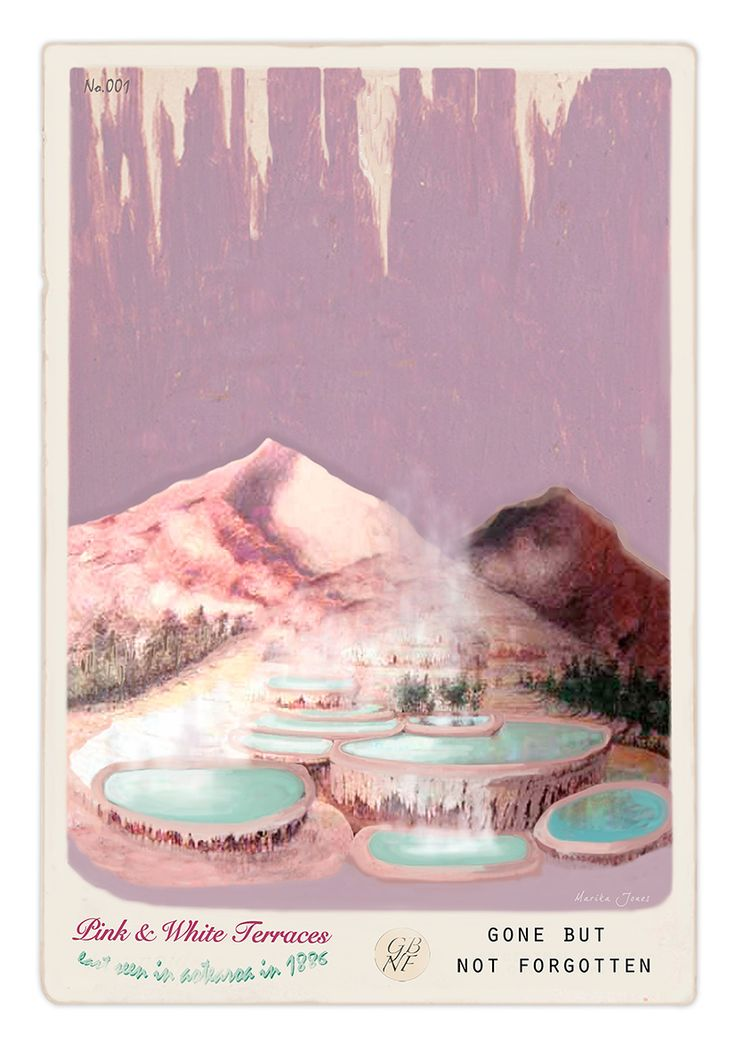 Pink and White Terraces - Gone but not forgotten. By Marika Jones - available from www.imagevault.co.nz