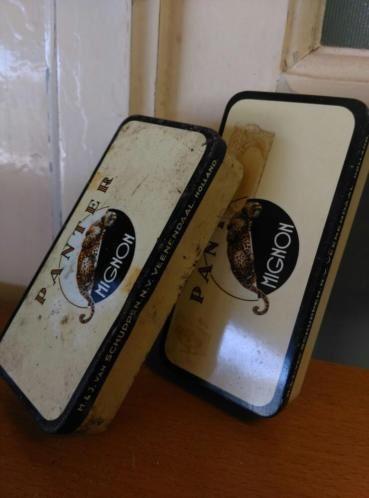 Oude Brocante Set Blikjes Panter Mignon Sigaren 1960