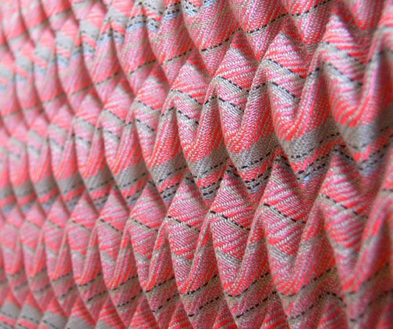 Angharad McLaren Textiles woven and pleated neons