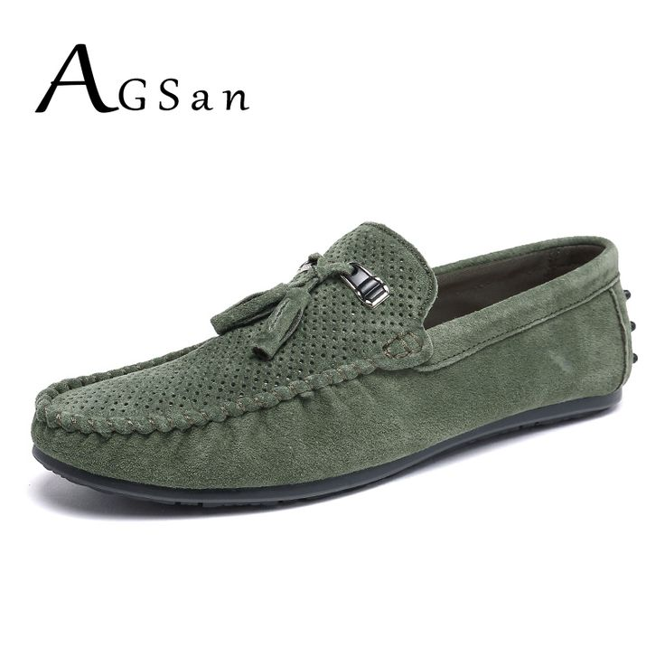 >> Click to Buy << AGSan suede loafers men tassel leather moccasins breathable driving shoes male green slip on italian loafers flats casual shoes #Affiliate