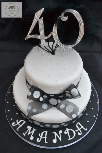 2 tier Black & White 40th Birthday Cake with bling diamante 40 cake topper and black feathers. Perfect for celebrating a special occasion. A real show stopper!