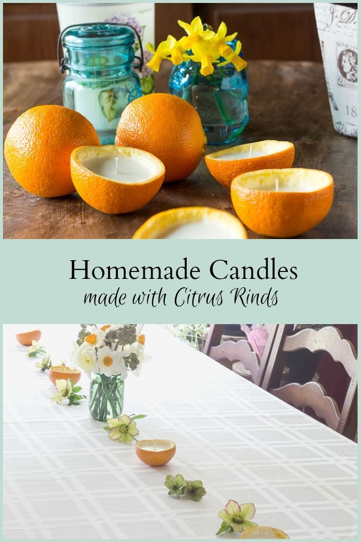 Learn how to make homemade candles with real orange rinds, wax and essential oils. They look so pretty and natural and will last for the evening. #candlemaking #nature #citrus #tabledecor #essentialoils