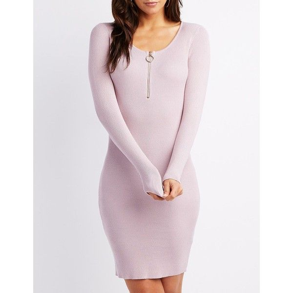 Charlotte Russe Ribbed Zipper-Detail Bodycon Dress ($29) ❤ liked on Polyvore featuring dresses, taupe, pink party dress, pink bodycon dress, midi dress, bodycon dress and long-sleeve midi dresses