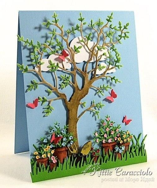 Как сделать открытку на тему весна