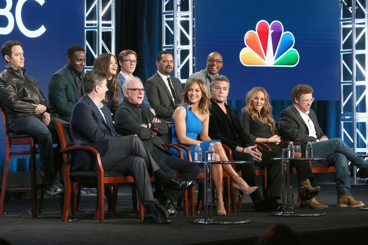 L-R back) Actors Santino Fontana, Dayo Okeniy, Sarah Jeffery, Warren Kole, Vincent Laresca and Hampton Fluker (L-R front) Executive producer Jack Orman, director/executive producer Barry Levinson, executive producer/actress Jennifer Lopez, actors Ray Liotta, Drea de Matteo and creator/executive producer Adi Hasak speak onstage during the 'Shades of Blue' panel discussion at the NBCUniversal portion of the 2015 Winter TCA Tour at Langham Hotel on January 13, 2016 in Pasadena, California.