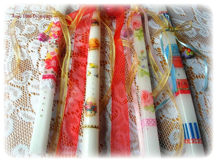 Aussi Dimi decoupage: Spring preparations..... candles....sweets.....
