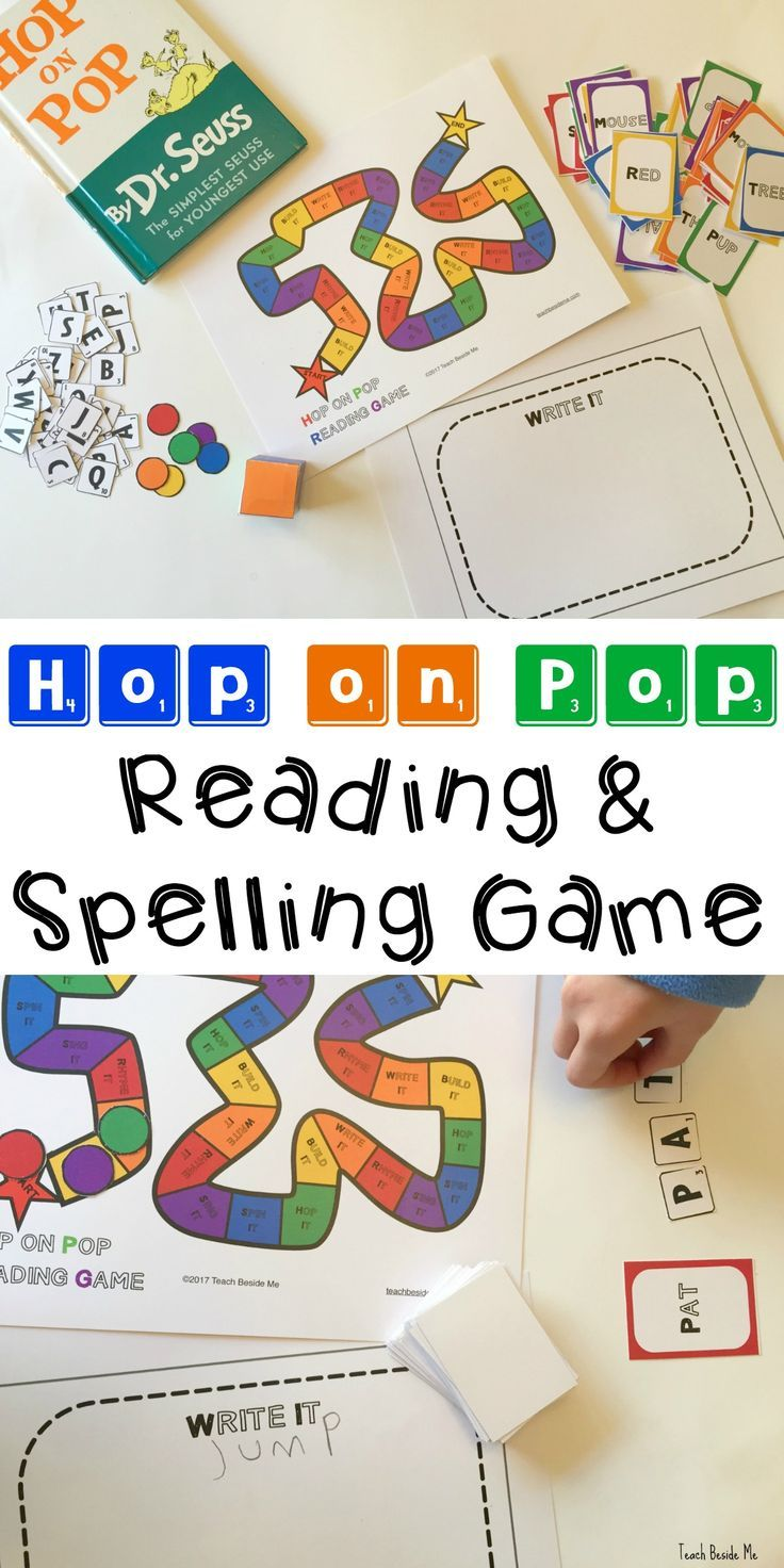 Dr. Seuss Hop on Pop Reading & Spelling Game for kids. Great for sight word practice and hands-on learning for language arts! via @karyntripp