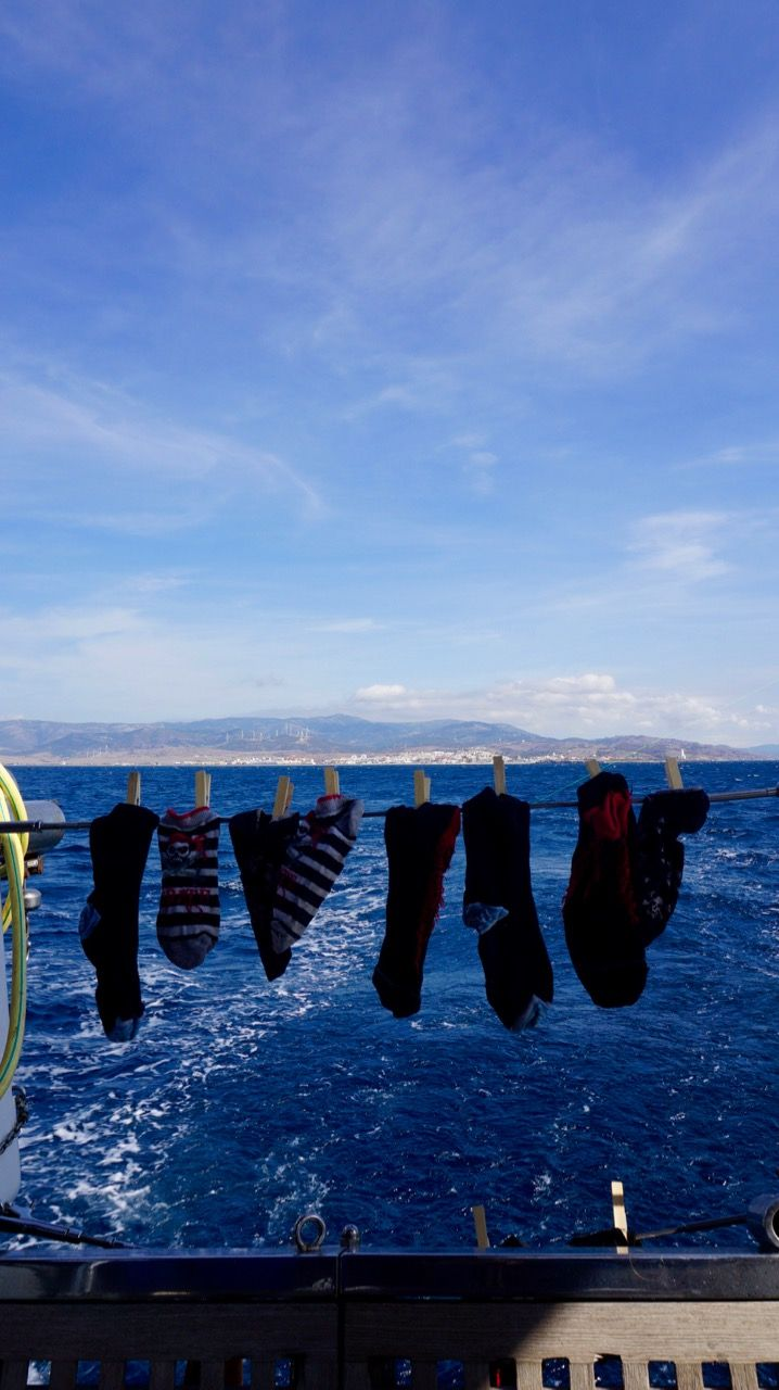 Sailing the Strait of Gibraltar with pirate socks hanging to dry. Ready to conquer the Atlantic! Read the about the adventure on OceanXploration.com