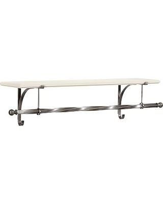 Check Out These Hot Deals on New York Wall-Mount Wood Shelf with Metal Clothes Rod, 4', White/Pewter finish