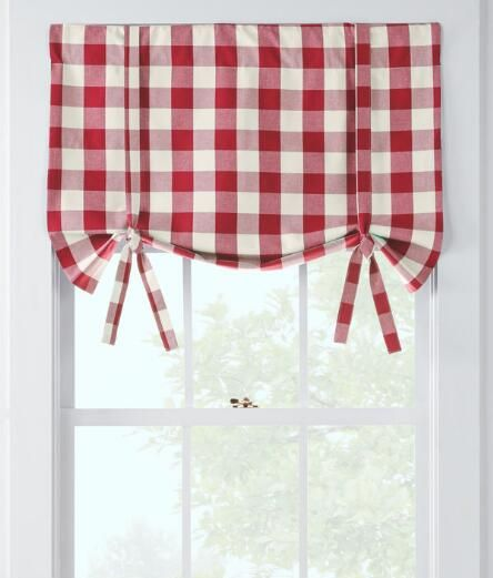 Make a bold statement with this timeless woven large check that can work alone at your windows, or delightfully accent other styles. (Country Curtains Buffalo Check Tie-Up Valance. Available in Red, Black, Chocolate, Gold, Navy Blue and Sage.)