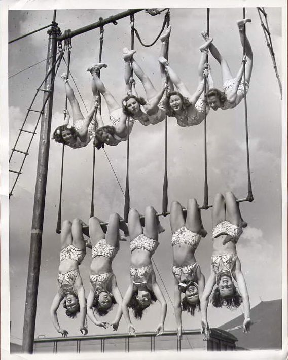 Aerial ballet, 1948  love seeing all these duos on trapeze!! from SO LONG ago. lovely ladies indeed.