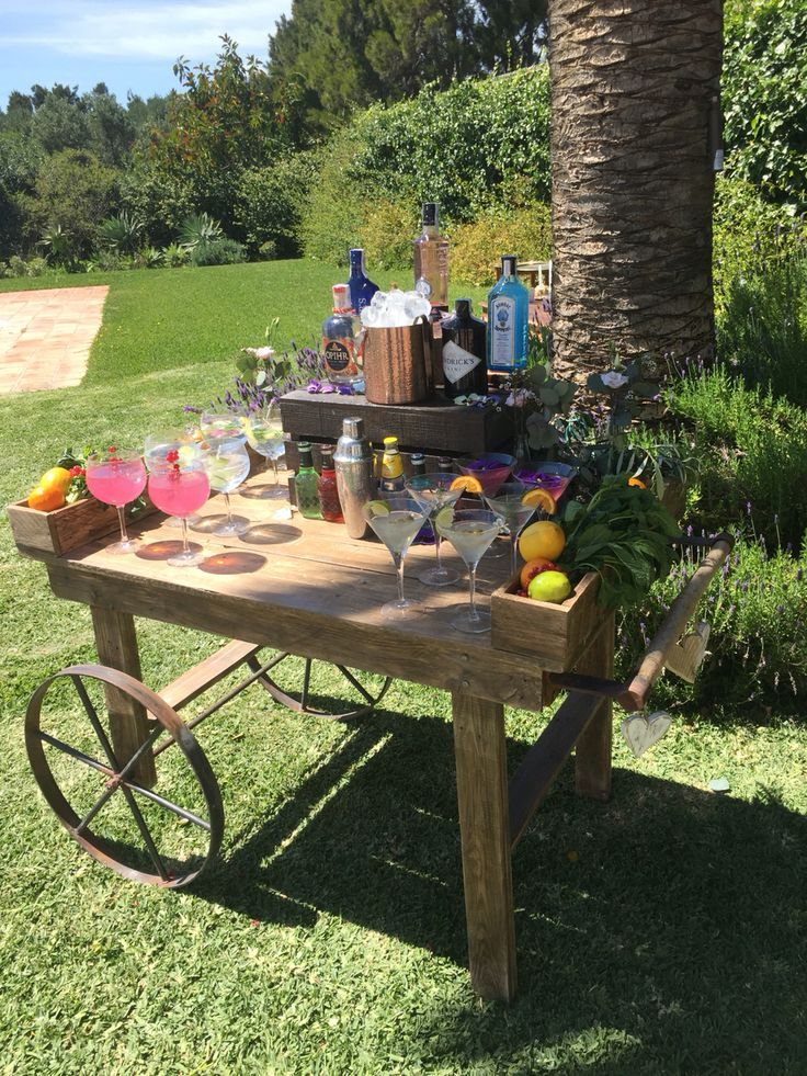 Wooden cart to give a gin and tonic bar that rustic farmhouse feel....