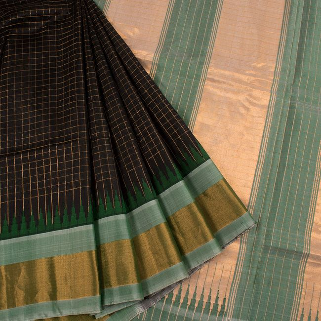 Handwoven Black Gadwal Kuttu Silk Saree With Checks & Temple Border 10019107 - AVISHYA.COM