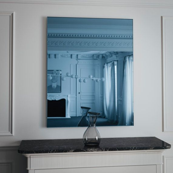 Blue MidCentury mirror. Hanging wall mirror with MidCentury aesthetic.  You can order a sample of this blue mirror here: http://etsy.me/1uDag40