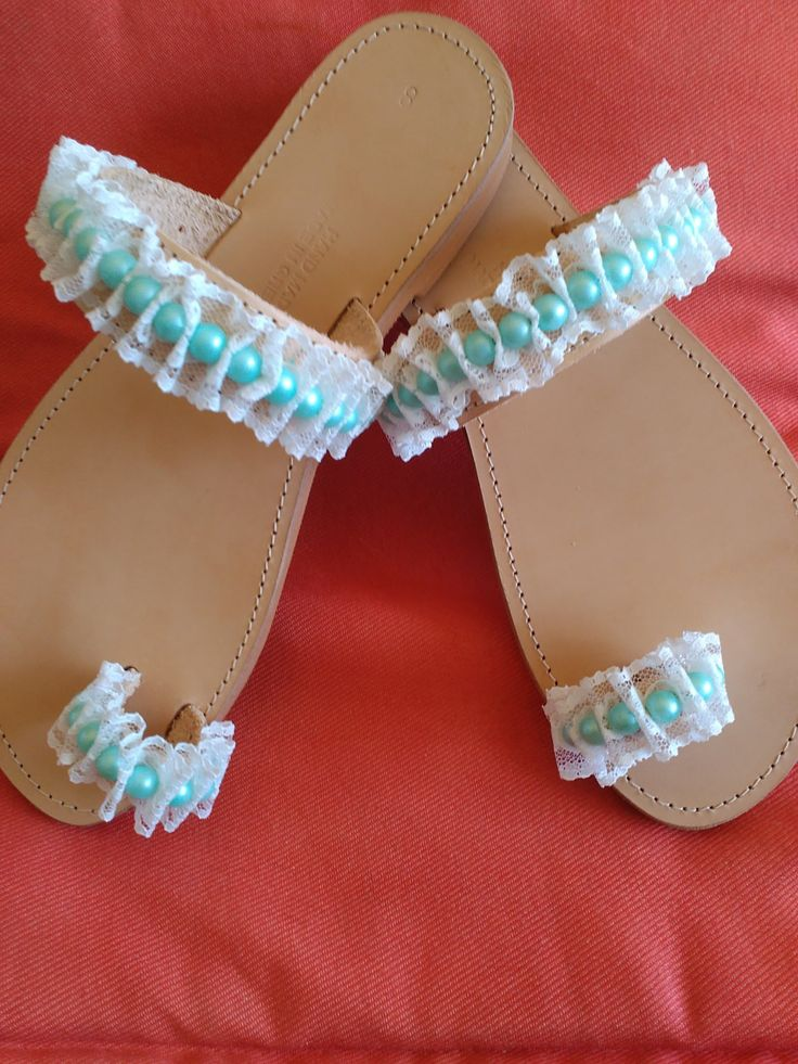 Leather sandals with lace and pearls (handmade) - pinned by pin4etsy.com