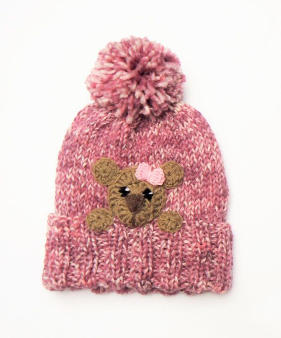 Knit Winter Hat for Girls Cute Pom Pom Hat with Bear Pink by 2mice