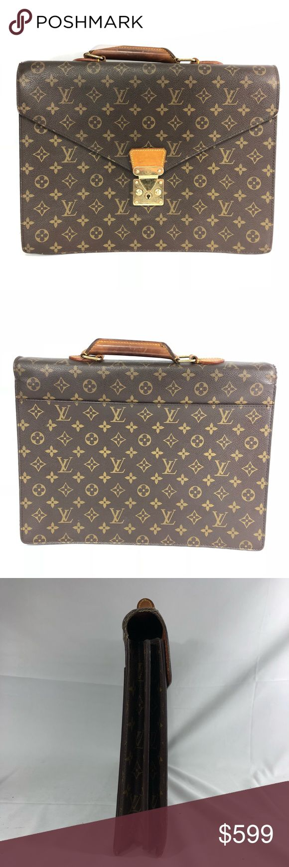 Authentic Louis Vuitton Briefcase/ folder case Brass tone hardware, clean vachetta and interior. Darkened patina and tarnished hardware. EUC. Hold large folders. Please see all photos. No trades please. Louis Vuitton Bags Laptop Bags