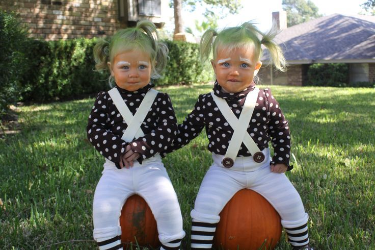 With a little bit of face paint and temporary hair chalk, your little twins can be frolic through candy land as adorable Oompa Loompas.