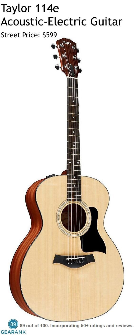Taylor 114e Acoustic-Electric Guitar. This Grand Auditorium shaped guitar has a solid Sitka Spruce top along with Layered Sapele back and sides. The electronics are the Expression System 2 (ES2) which is Taylor's patented behind-the-saddle pickup, which features three uniquely positioned and individually calibrated pickup sensors. For a detailed Guide to Acoustic Guitars see https://www.gearank.com/guides/acoustic-guitars