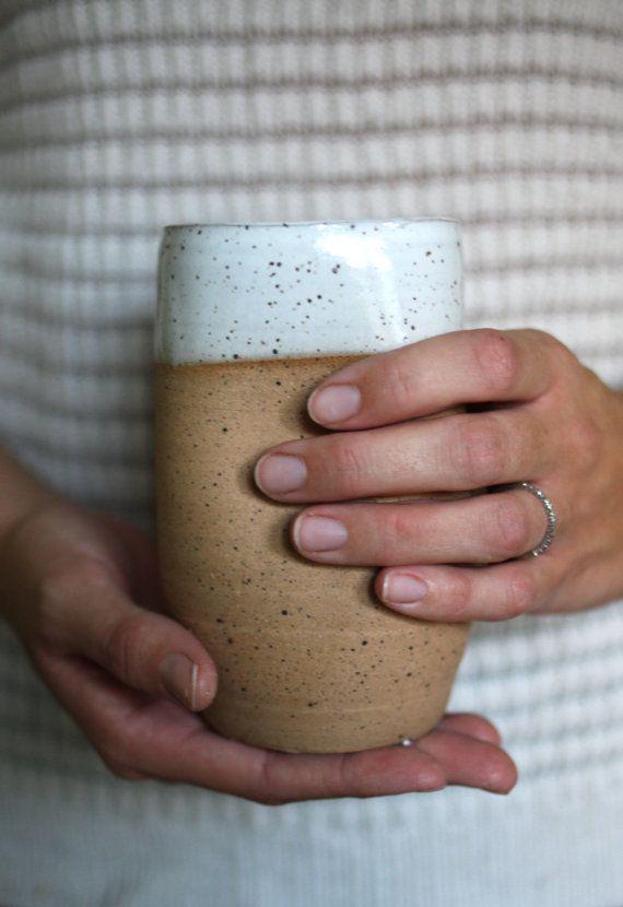 Antique White Dipped Handleless Mug 16 oz by JessHunterCeramics