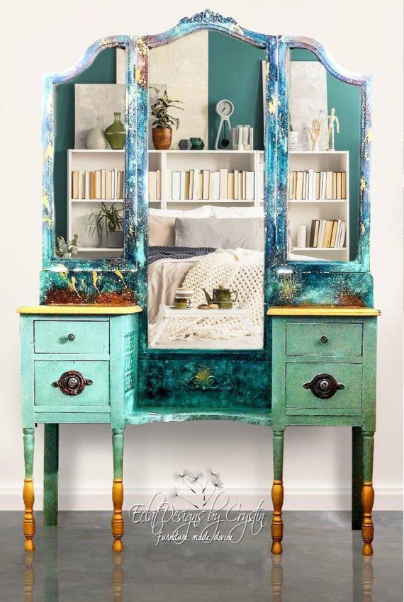 Boho Vanity Makeup Desk Dress Up Table Makeup Painted Vanity