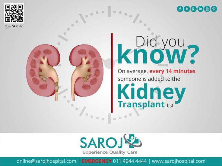 Every 14 minutes, someone is added to the Kidney Transplant list. Visit: www.sarojhospital.com/kidney-transplant #Health #Healthcare #Wellness #Medical #KidneyTransplant #Doctors #delhi