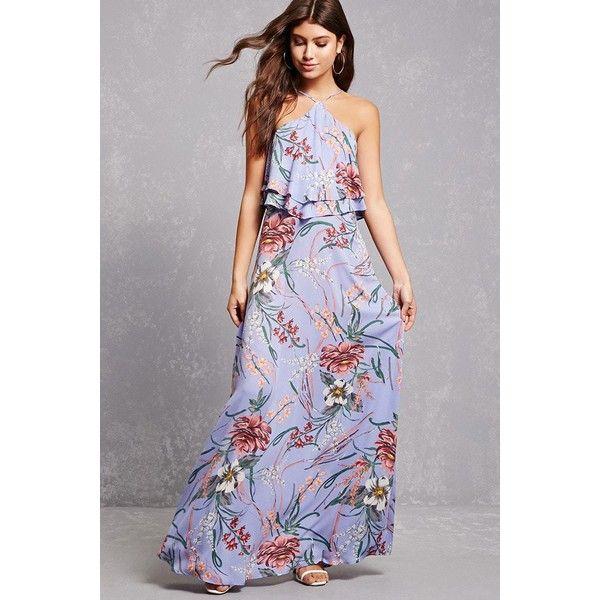 Forever21 Floral Halter Maxi Dress ($48) ❤ liked on Polyvore featuring dresses, light blue, tiered maxi dress, light blue dress, halter top, sleeveless dress and forever 21 dresses