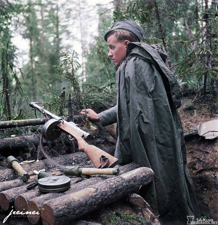"1944 Continuation War, Finland. Finnish soldier armed with Suomi KP/-31 Picture is colored by Paul Kerestes from Romania. Picture originates from ""SA-kuva"" gallery, posted via link from external site. Pin by Paolo Marzioli"