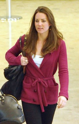 Kate Middleton at Geneva Airport after a holiday with her family and Prince William in the Swiss Alps, March 22, 2009.