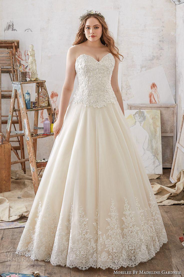 morilee julietta spring 2017 bridal strapless sweetheart neckline heavily embellished bodice romantic princess plus size a  line wedding dress chapel train (3217) mv