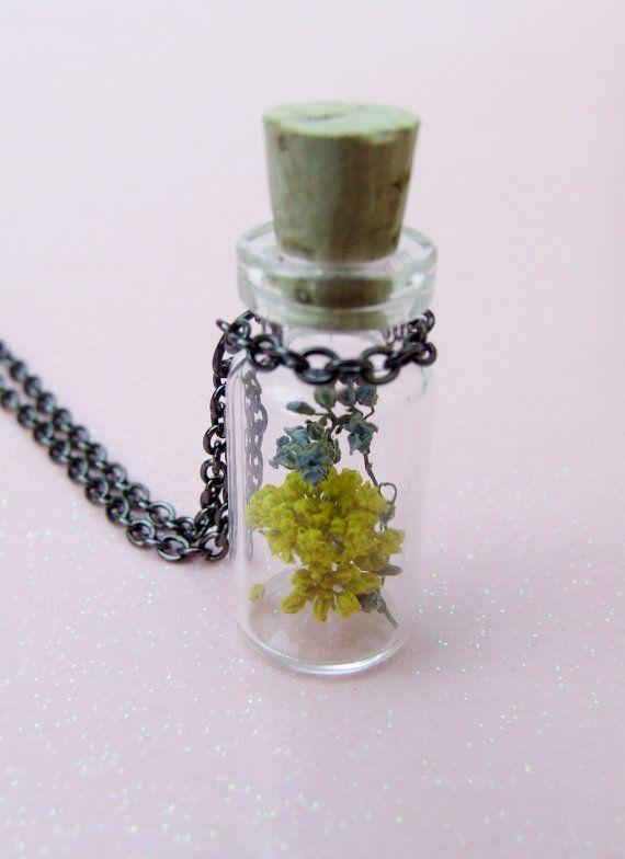 Purple & Yellow Wildflower Flower Necklace  by OneUglyUnicorn, $15.00