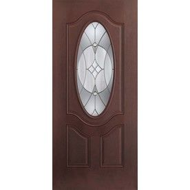Want shop benchmark by therma tru 36 in oval lite decorative mahogany inswing entry door at for Lowes fiberglass exterior doors